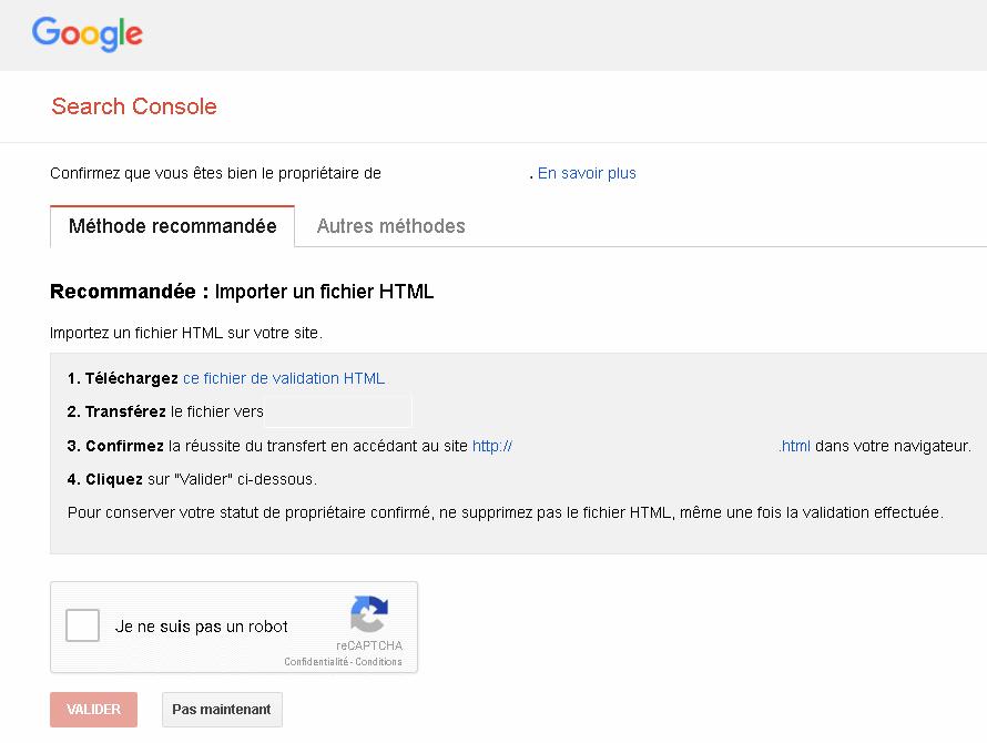 Ajouter un site - Google