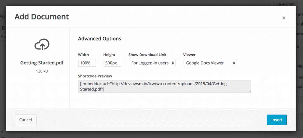 Embed Any Document - Ajouter depuis URL