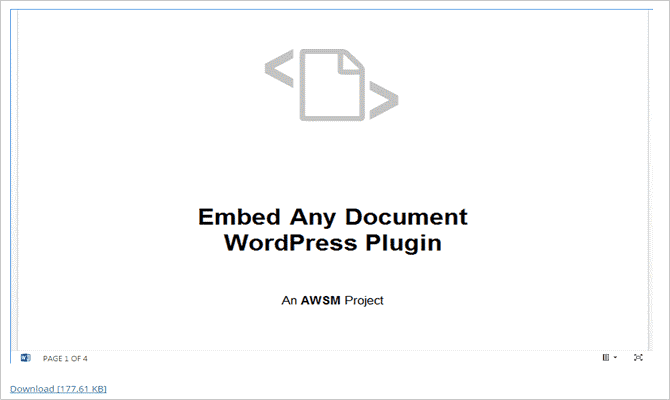 Intégrer des documents Word et des fichiers Excel dans WordPress - Fichier Word
