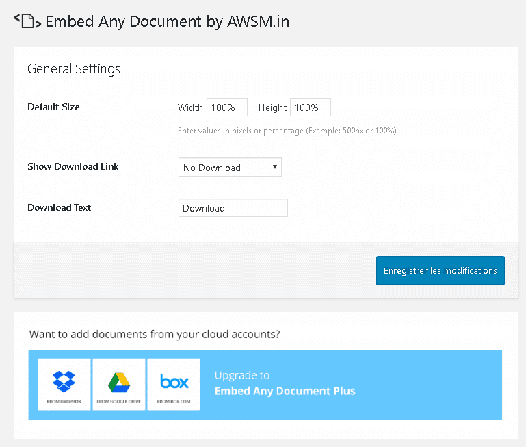 Embed Any Document - Paramètres