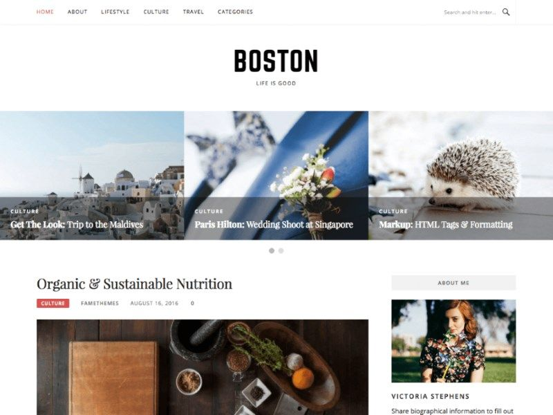 Les plus beaux thèmes gratuits parus en Août 2016 - Boston