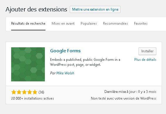 Google Forms - Installation