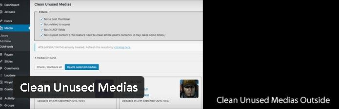 Plugin gratuits - Clean Unused Medias