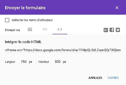 Google Forms -Code iFrame
