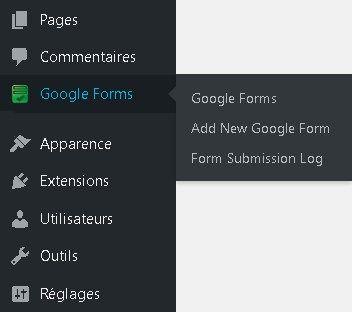 Google Forms - Menu WordPress