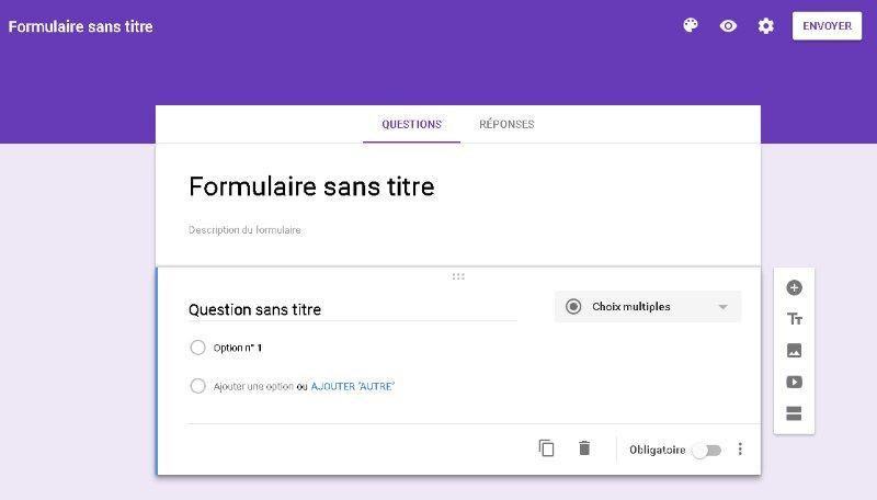 Google Forms - Nouveau formulaire