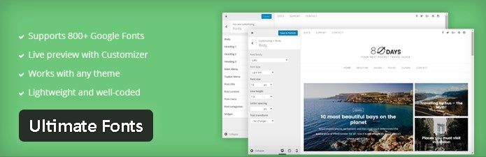 Plugin gratuits - Ultimate Fonts