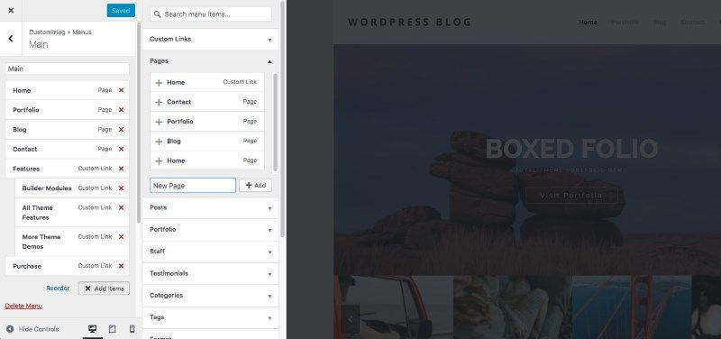 WordPress 4.7 - Generateur de menu