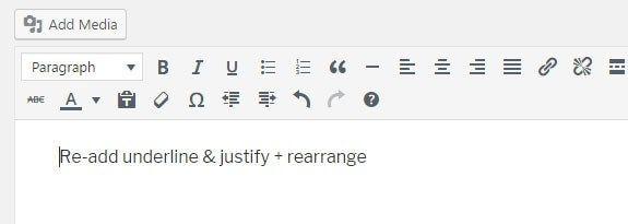 Justifier et souligner un texte dans WordPress 4.7