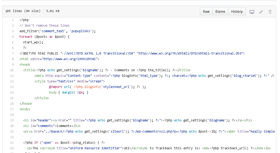 Extrait de code GitHub - Afficher les commentaires sur une page séparée