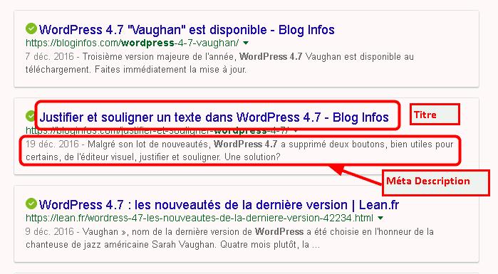 méta description - résultats de recherche