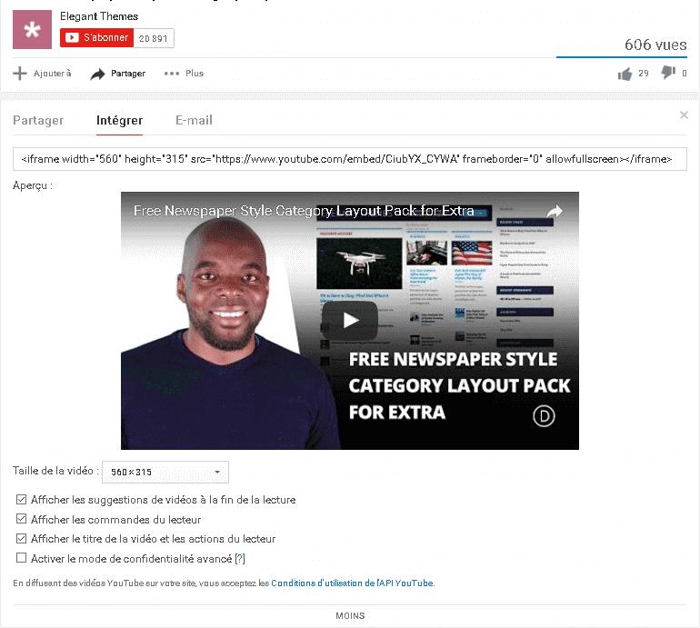 Intégrer des vidéo dans WordPress