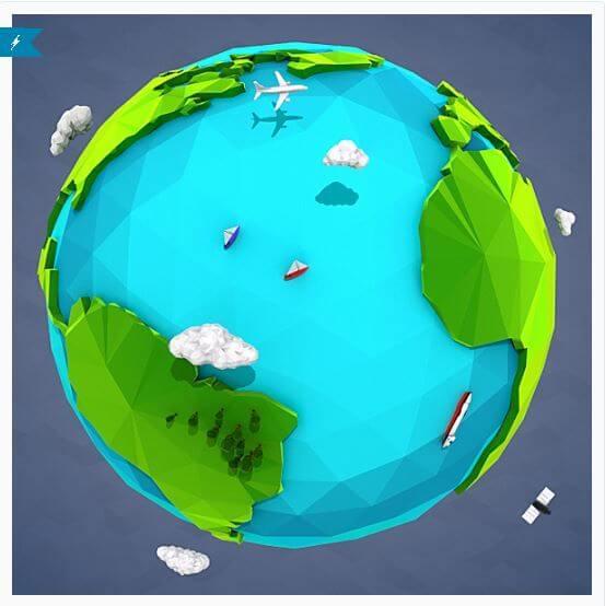 Lowpoly Earth - fichiers gratuits de Février 2017